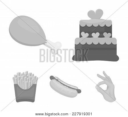 Cake, Ham, Hot Dog, French Fries.fast Food Set Collection Icons In Monochrome Style Vector Symbol St
