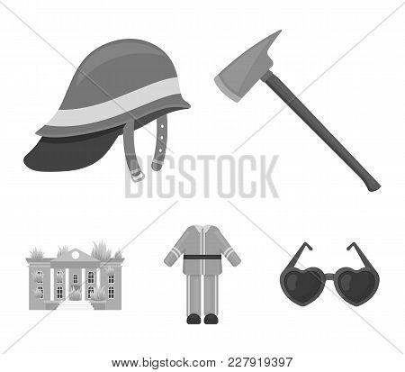 Ax, Helmet, Uniform, Burning Building. Fire Departmentset Set Collection Icons In Monochrome Style V