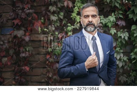 Fashionable Senior Business Man Posing On A Wall Covered With Autumn Foliage