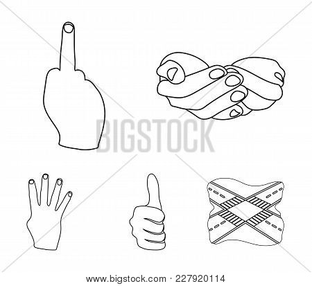 Palms Together, Big Up, Nameless. Hand Gestures Set Collection Icons In Outline Style Vector Symbol
