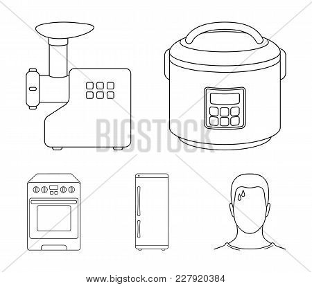 Multivarka, Refrigerator, Meat Grinder, Gas Stove.household Set Collection Icons In Outline Style Ve