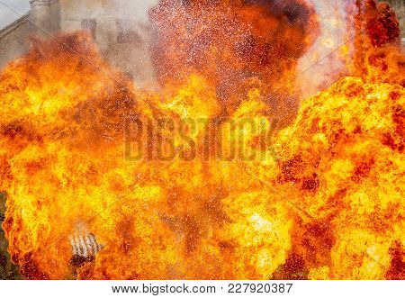 Abstract Of Huge Fire Flame With Sparks And Blaze Exploding