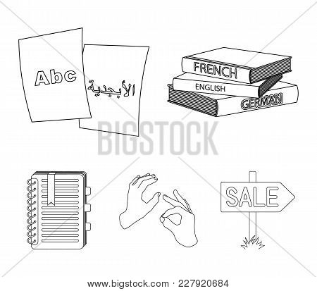 A Pile Of Books In Different Languages, Sheets Of Paper With Translation, A Gesture Of Deaf Mutes, A