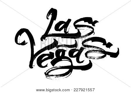 Las Vegas. Modern Calligraphy Hand Lettering For Silk Screen Printing