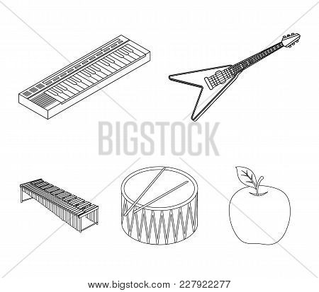 Musical Instrument Outline Icons In Set Collection For Design. String And Wind Instrument Isometric