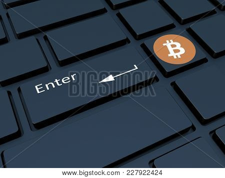 Crypto Currency. Keyboard With Symbols. Mining Of Crypto Currency On The Computer. 3d Illustration.