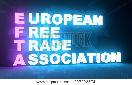 Acronym Efta - European Free Trade Association. Business Conceptual Image. 3d Rendering. Neon Bulb I
