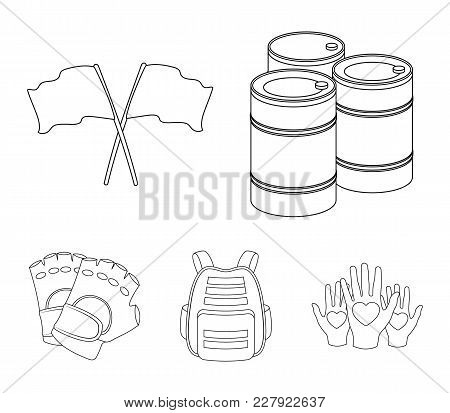 Protective Vest, Gloves And Other Equipment. Paintball Single Icon In Outline Style Vector Symbol St