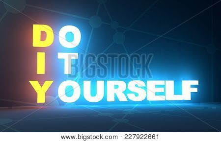 Acronym Diy - Do It Yourself. Business Conceptual Image. 3d Rendering. Neon Bulb Illumination