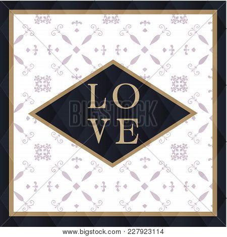 Love Square Retro Background Illustration Vector Image