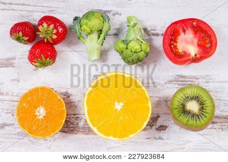 Fresh Ripe Fruits And Vegetables As Sources Vitamin C, Minerals And Dietary Fiber, Healthy Food And