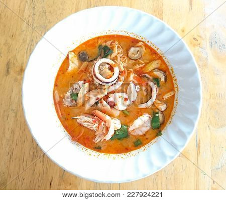 Seafood Noodles. Thai Spicy Food Fusion With Chinese Food