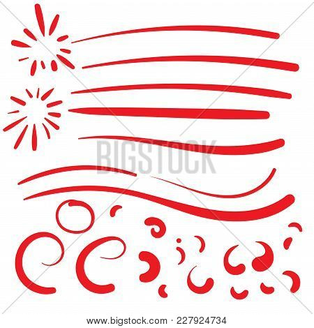 Hand Drawn Red Squiggle Swoosh Text Font Tail For Baseball Tshirt Design W Calligraphy Swirl