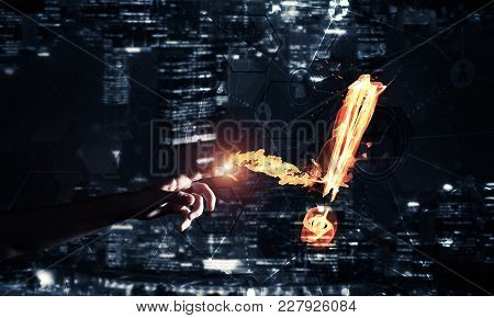 Fire Exclamation Mark On Night City Background