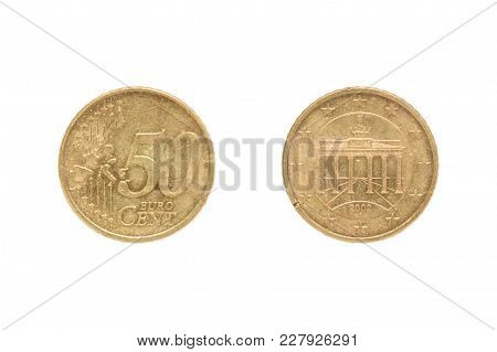 Fifty Euro Cent Coin Isolated On White Background. On The Reverse Of Brandenburg Gate