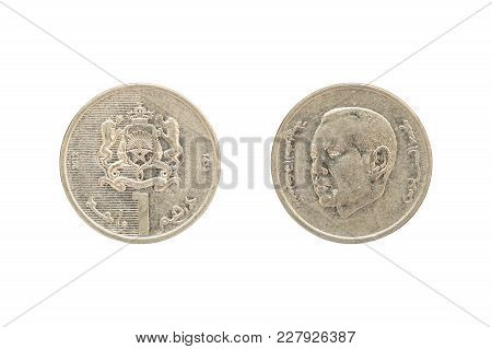 One Moroccan Dirham Coin Isolated On White Background