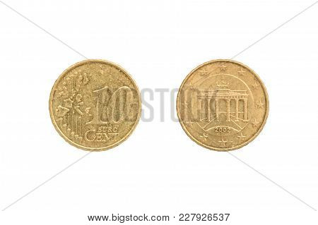 Ten Euro Cent Coin Isolated On White Background