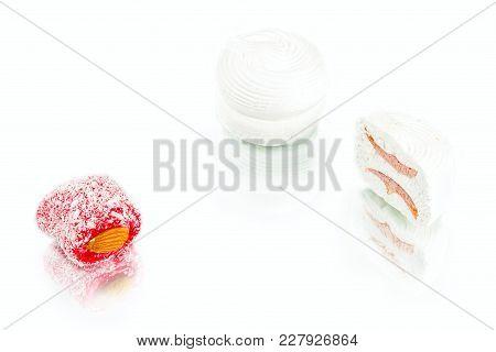 White Soft Sweet Marshmallows With  Apricot Jam Inside And Rakha