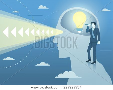 Businessman With New Bright Idea And Clear Vision, Simple Flat Vector.