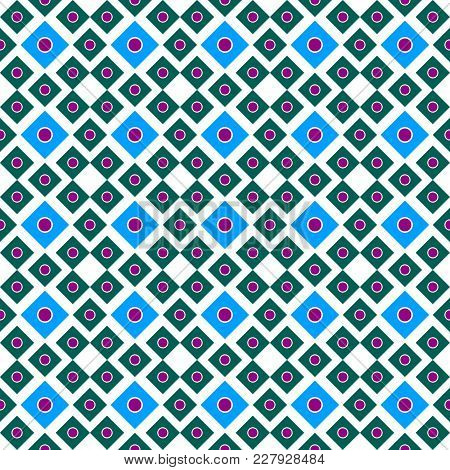Vector Illustration Seamless Ornament Of Squares Of Blue And Green With Lilac Circles Inside On A Wh
