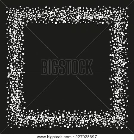 Silver Shine Of Confetti On A Black Background. Illustration Of A Drop Of Shiny Particles. Decorativ