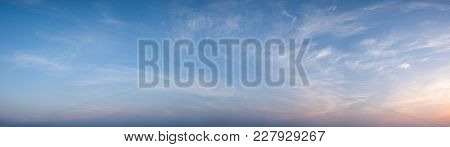 Panorama View Of Blue Sky And Cloud During Sunset With Dramatic Sky Background