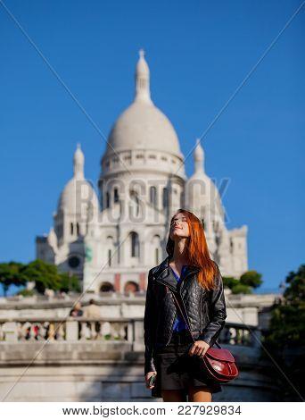 Girl Near Basilica Of The Sacred Heart Of Paris