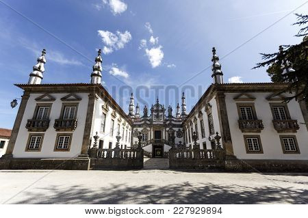 Vila Real, Portugal - September 22, 2017: The Mateus Palace Built In The Eighteenth Century Is A Fin