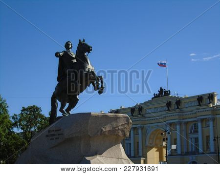 Saint-petersburg. The Equestrian Statue Of Peter The Great, Known As The Bronze Horseman And Install