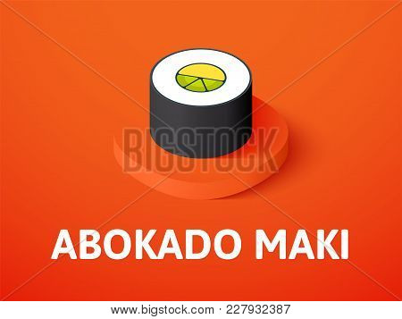 Abokado Maki Icon, Vector Symbol In Flat Isometric Style Isolated On Color Background