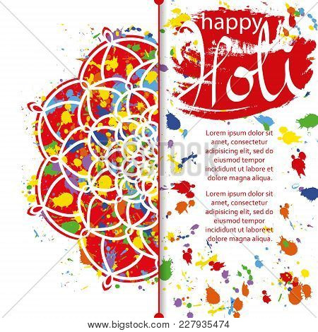 Vector Illustration Of Abstract Colorful Happy Holi Festival Background. Indian Festival Of Colours,