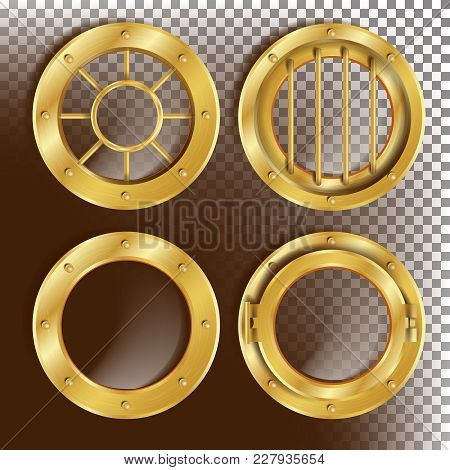 Porthole Vector. Round Golden Window With Rivets. Bathyscaphe Ship Metal Frame Design Element. For A