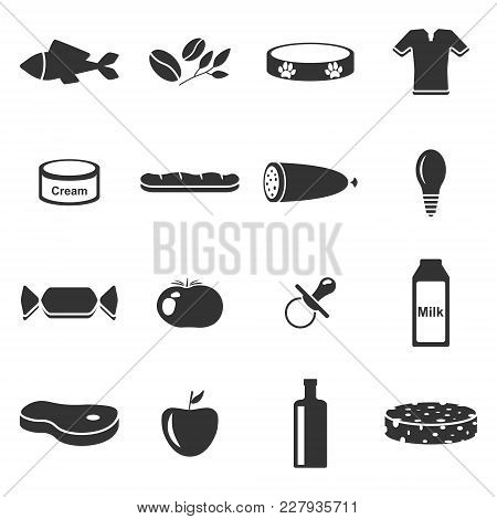 Vector Image Of Set Of Icons Of Departments In A Supermarket. Flat. Sixteen Icons.