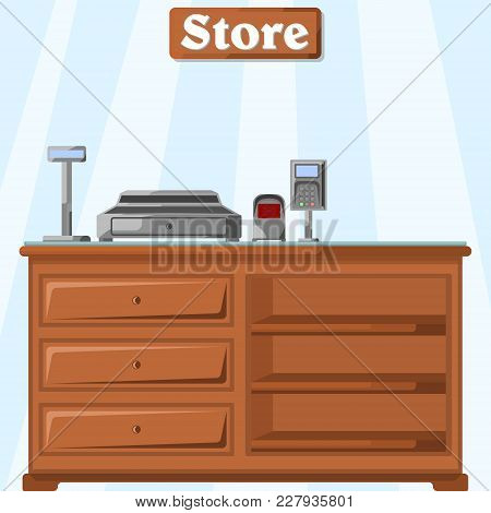 Vector Illustration Of A Counter In The Store From The Cashier S Side With A Cash Register, A Bar Co