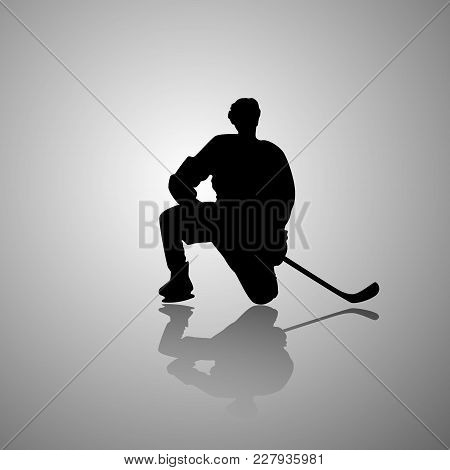Vector Image Of A Hockey Player Sitting On One Knee With A Mirror Shadow On A Gray Background. Flat.