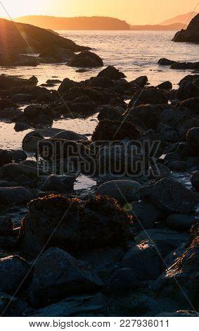 Sunset At Mackenzie Beach In Tofino, Vancouver Island, British Columbia