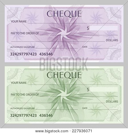 Check (cheque), Chequebook Template. Guilloche Pattern With Watermark, Spirograph. Background For Ba