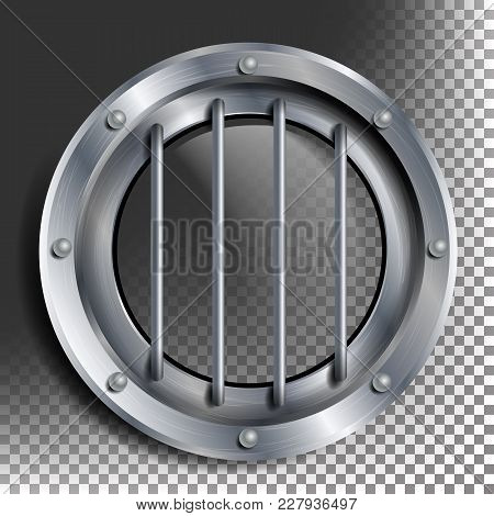 Silver Porthole Vector. Round Metal Window With Rivets. Bathyscaphe Ship Frame Design Element, Rocke