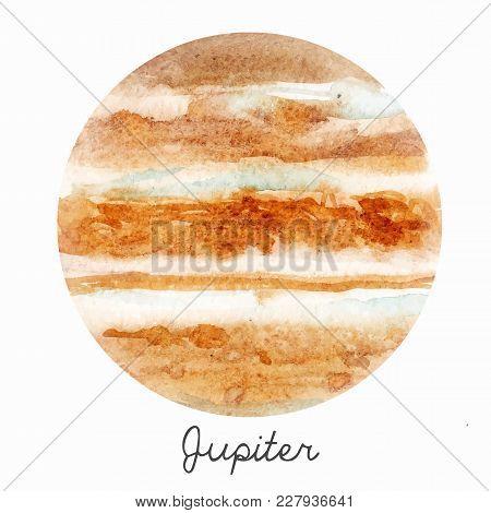 Beautiful Watercolor Hand Drawn Vector Illustration Of Jupiter Planet