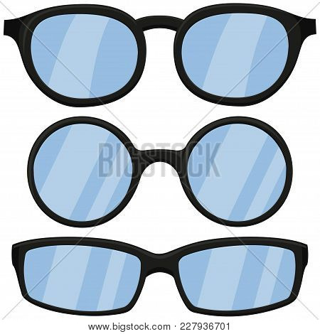 Cartoon Icon Poster Man Black Glasses, Spectacles Set. Fashion Vector Illustration For Gift Card Cer