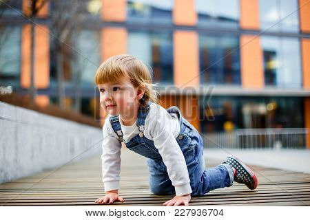 A Portrait Of Adorable Toddler Girl In Summer