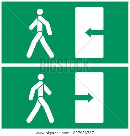 Vector Image Of Fire Exit Sign. The Person Walks Towards The Exit And The Person Walks From The Door