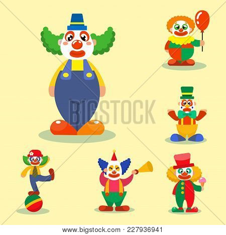 Clown Vector Circus Man Characters Performer Carnival Actor Makeup Clownery Juggling Clownish Human