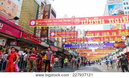 Unidentified People Celebrate  At Yaowarat Road