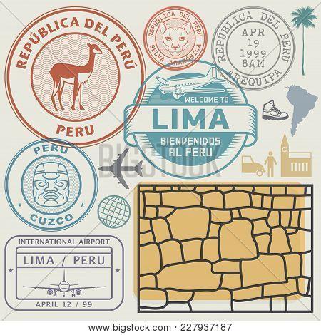 Travel Stamps Or Symbols Set Peru, South America Theme, Vector Illustration