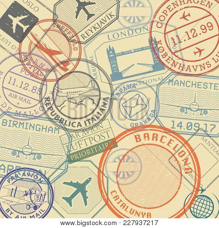 Travel Stamps Or Symbols Set, European Countries Theme, Vector Illustration