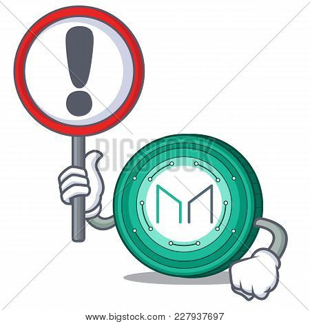 With Sign Maker Coin Character Cartoon Vector Illustration