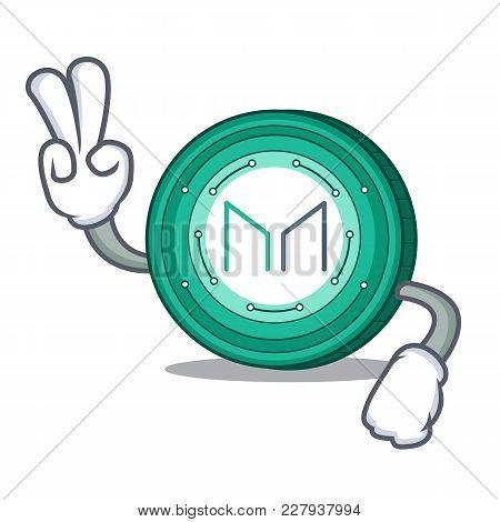 Two Finger Maker Coin Character Cartoon Vector Illustration