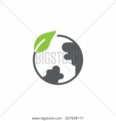 Eco Globe Icon Vector, Filled Flat Sign, Bicolor Pictogram, Green And Gray Colors. Leaf And Earth Gl