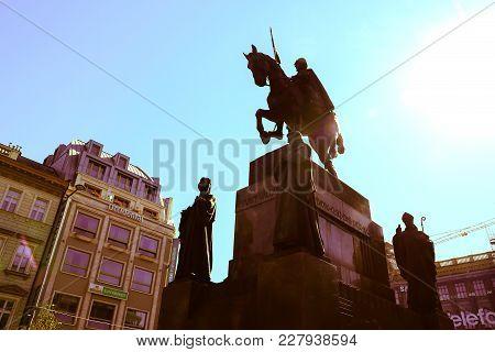 Prague, Czech Republic - August 30, 2017; Split Toned Silhouette  Statue Of Historic King Wenceslas